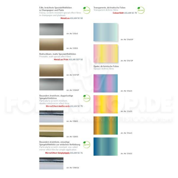 Farbkarte ASLAN® Metalleffektfolien